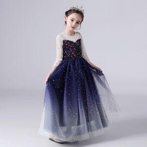 Gwiaździste Niebo Granatowe Urodziny Sukienki Dla Dziewczynek 2020 Suknia Balowa Przezroczyste Wycięciem 3/4 Rękawy Gwiazda Cekiny Długie Wzburzyć