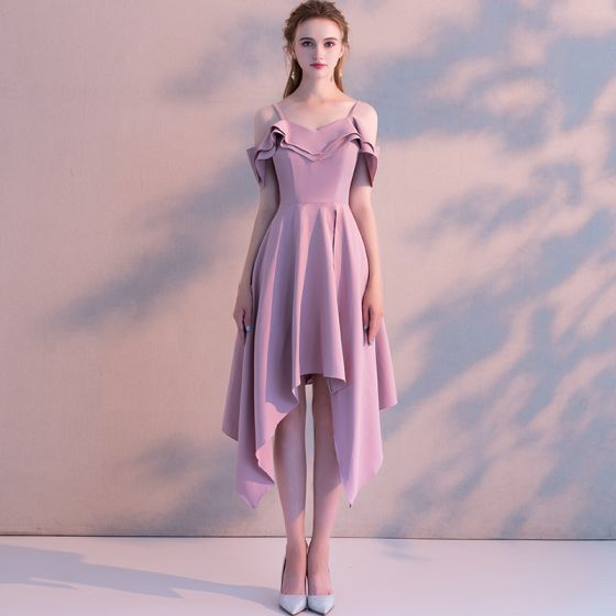 495611f7353 Modest   Simple Candy Pink Homecoming Graduation Dresses 2018 A-Line    Princess Spaghetti Straps Short Sleeve Asymmetrical ...