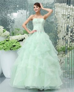 A-line Strapless Beading Floor Length Organza Sewn Beads Prom Dresses