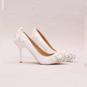 Hermoso Blanco 2017 Zapatos de novia De Encaje Rebordear Rhinestone Crystal Boda Zapatos De Mujer
