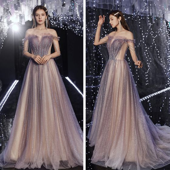 Classy Purple Champagne Gradient-Color Prom Dresses 2020 A-Line / Princess Off-The-Shoulder Short Sleeve Sequins Beading Glitter Tulle Sweep Train Ruffle Backless Formal Dresses