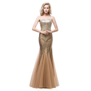 Sparkly Champagne Evening Dresses  2018 Trumpet / Mermaid Sweetheart Sleeveless Rhinestone Sequins Floor-Length / Long Ruffle Backless Formal Dresses