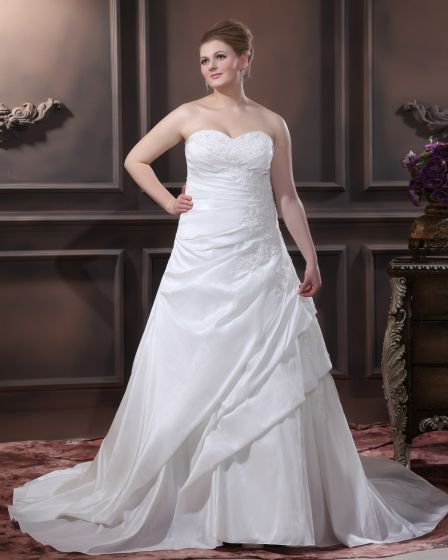 A-Line Strapless Sweep Taffeta Embroidery Bead Plus Size Wedding Dress
