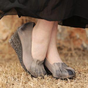 Mooie / Prachtige 2017 8 cm / 3 inch Bruin Grijs Toevallig Feest Avond Tuin / Outdoor Leer Vallen Voorjaar Zomer Winter Handgemaakt Hoge Hakken Sandalen Sandalen Dames