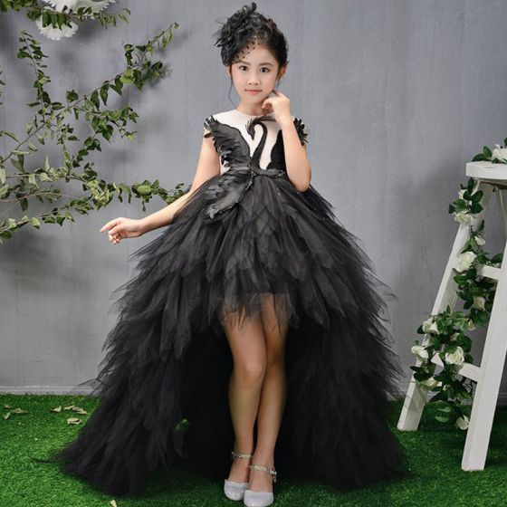 Vestido Alto Negro Transparentes Cumpleaños Vestidos para niñas 2020 Ball Gown Scoop Escote Sin Mangas Asimétrico Volantes En Cascada