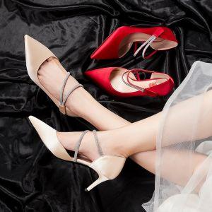 Eenvoudige Champagne Bruidsschoenen 2020 Satijn Glans Pailletten Feest Avond Damesschoenen