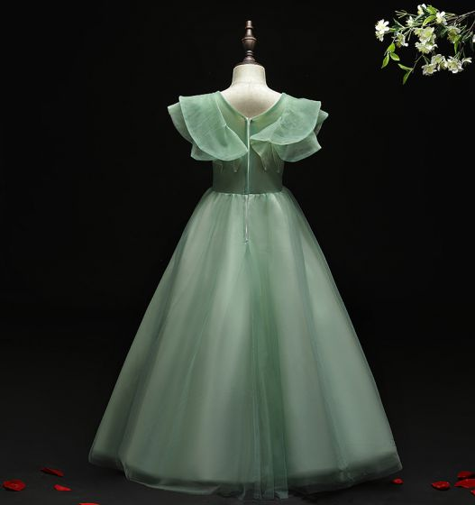 Flower Fairy Green Birthday Flower Girl Dresses 2021 Ball Gown V-Neck Sleeveless Backless Appliques Lace Flower Beading Floor-Length / Long Ruffle