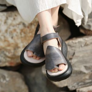 Chic / Beautiful 2017 5 cm / 2 inch Grey Red Beach Casual Outdoor / Garden Leather Summer Pierced Platform High Heels Sandals Open / Peep Toe Womens Sandals