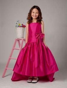 Fuchsia A-line Square Taffeta Sweep Flower Girl Dress