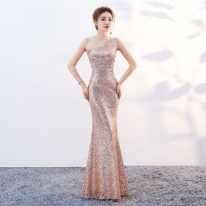 Sparkly Bling Bling Gold Floor-Length / Long Evening Dresses  2018 Trumpet / Mermaid Zipper Up Beading Sequins Evening Party Formal Dresses