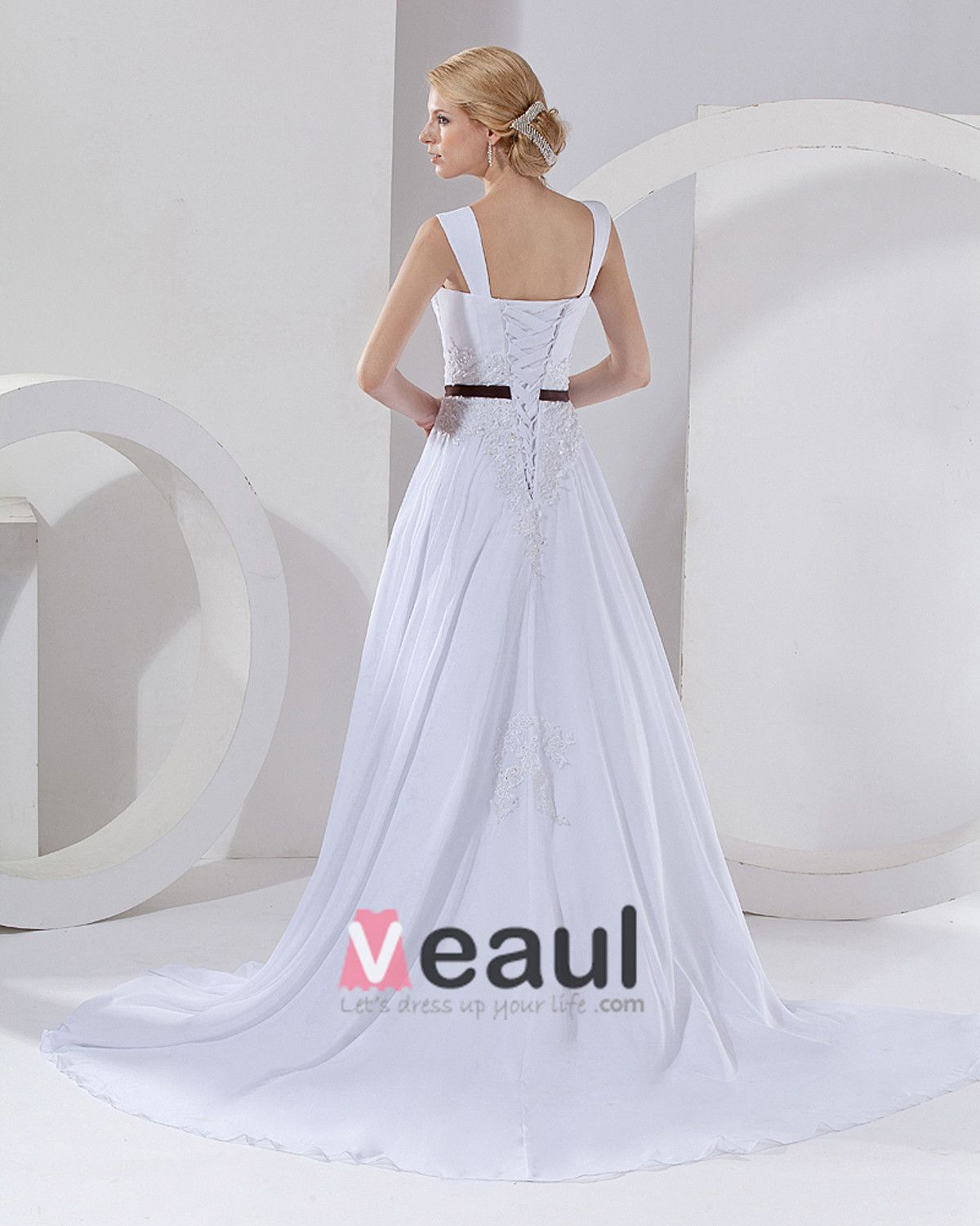 Wasit Strap Square Court A-Line Bridal Gown Wedding Dress