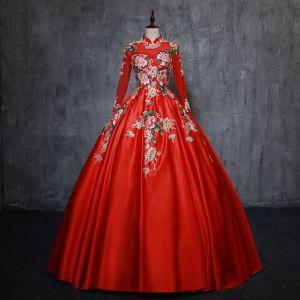 Chinesischer Stil Vintage Rot Quinceañera Ballkleider 2019 Ballkleid Stehkragen Perle Spitze Blumen Lange Ärmel Rückenfreies Lange Festliche Kleider