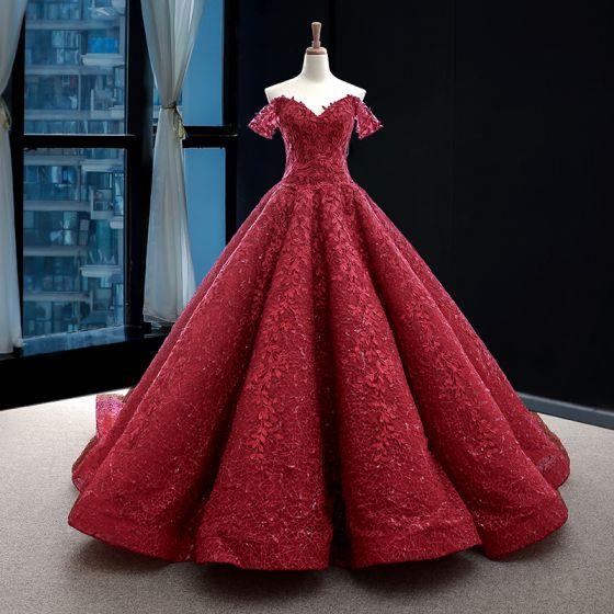 Najlepiej Czerwone Suknie Ślubne 2020 Princessa Przy Ramieniu Kótkie Rękawy Bez Pleców Cekinami Aplikacje Z Koronki Trenem Sweep Wzburzyć