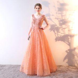 Chic Orange Robe De Soirée 2019 Princesse V-Cou Faux Diamant En Dentelle Fleur Appliques Sans Manches Dos Nu Longue Robe De Ceremonie