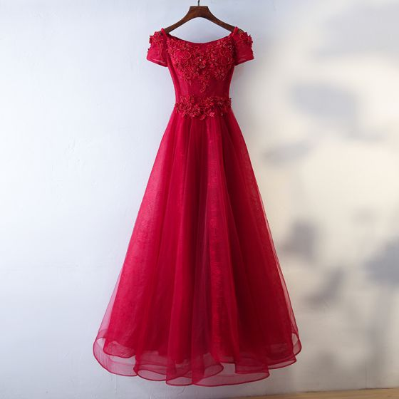 Chic / Beautiful Red Evening Dresses  2017 A-Line / Princess Artificial Flowers Beading Lace Flower Square Neckline Ankle Length Evening Party