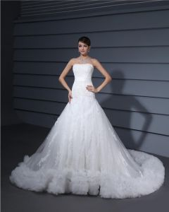 Tulle Satin Lace Flowers Beading Sweetheart Cathedral Train Mermaid Wedding Dress