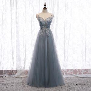 Uroczy Szary Sukienki Wieczorowe 2020 Princessa Spaghetti Pasy Frezowanie Kryształ Cekiny Bez Rękawów Bez Pleców Długie Sukienki Wizytowe