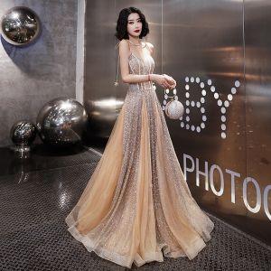 Sparkly Gennemsigtig Guld Selskabskjoler 2019 Prinsesse Spaghetti Straps Ærmeløs Glitter Lange Flæse Halterneck Kjoler