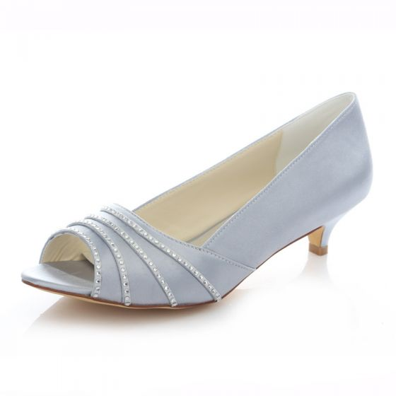 Argent Satin Chaussures De Mariée Escarpin Petit Talon 4cm Peep Toe