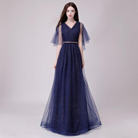 Schöne Marineblau Abendkleider 2018 A Linie Glanz Metall Stoffgürtel V-Ausschnitt Rückenfreies 1/2 Ärmel Lange Festliche Kleider