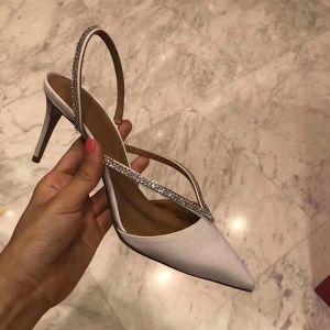 Sexy Ivory / Creme Abend Sandalen Damen 2020 Strass 7 cm Stilettos Spitzschuh Sandaletten
