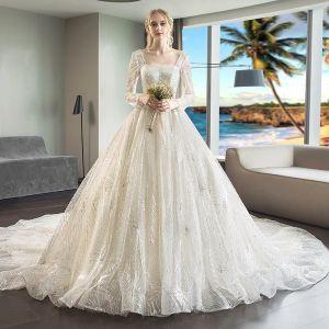 Luksusowe Szampan Suknie Ślubne 2018 Suknia Balowa Frezowanie Cekiny Kwadratowy Dekolt Długie Rękawy Bez Pleców Trenem Królewski