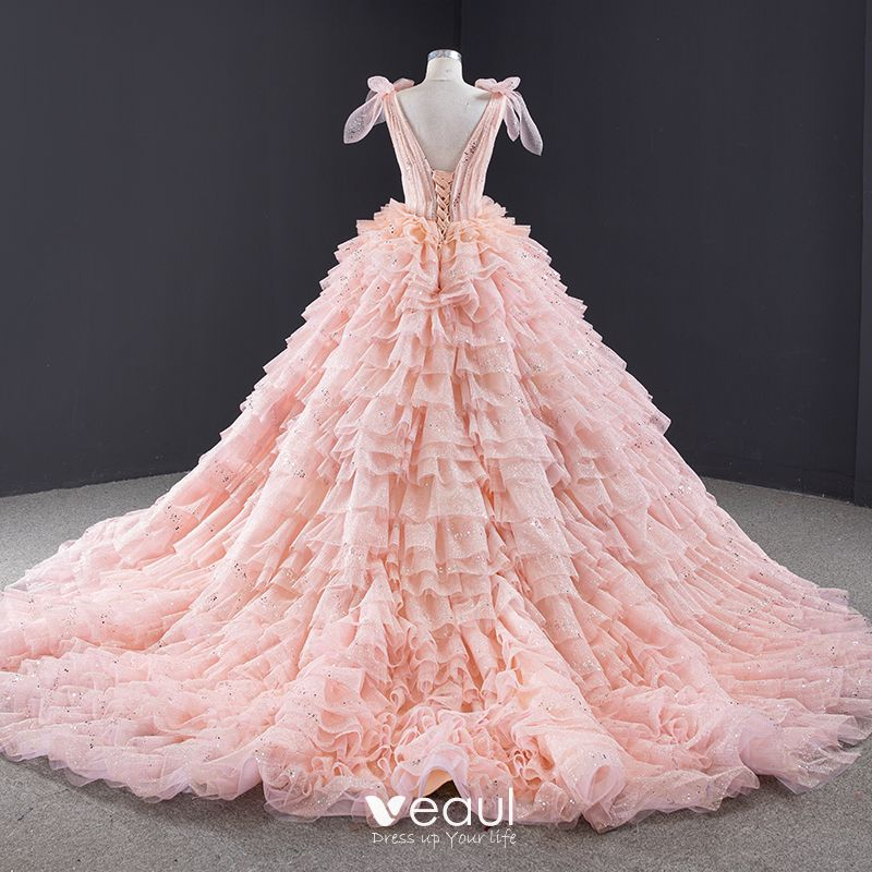 Luxury Gorgeous Lovely Candy Pink Sequins Wedding Dresses 2020 Ball Gown Scoop Neck Sleeveless Backless Cascading