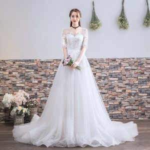 Chic / Beautiful White Wedding Dresses 2018 A-Line / Princess Appliques Lace Scoop Neck Backless 1/2 Sleeves Court Train Wedding
