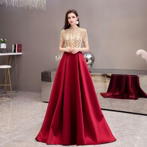 Chic / Beautiful See-through Burgundy Satin Prom Dresses 2020 A-Line / Princess High Neck Short Sleeve Beading Sweep Train Ruffle Backless Formal Dresses