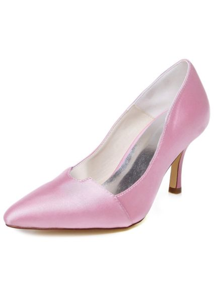 Vintage Pink Wedding Shoes Stiletto Heels Pumps Satin Bridal Shoes Pointed Toe