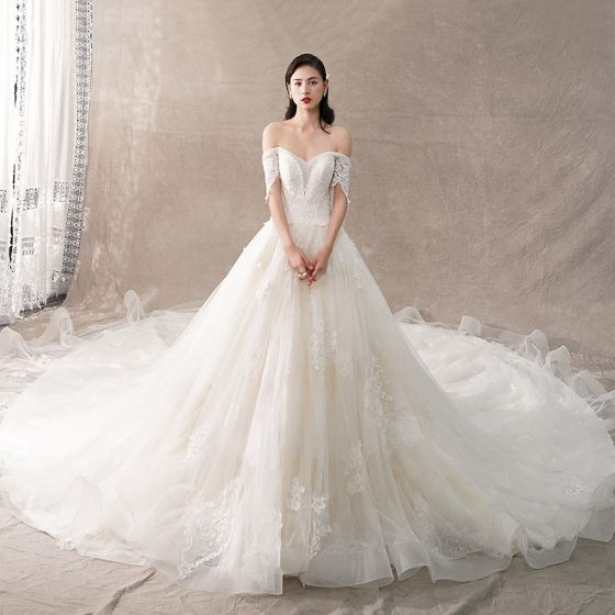 Elegant Champagne Wedding Dresses 2018 A-Line / Princess Off-The-Shoulder Short Sleeve Backless Appliques Lace Beading Cathedral Train Ruffle