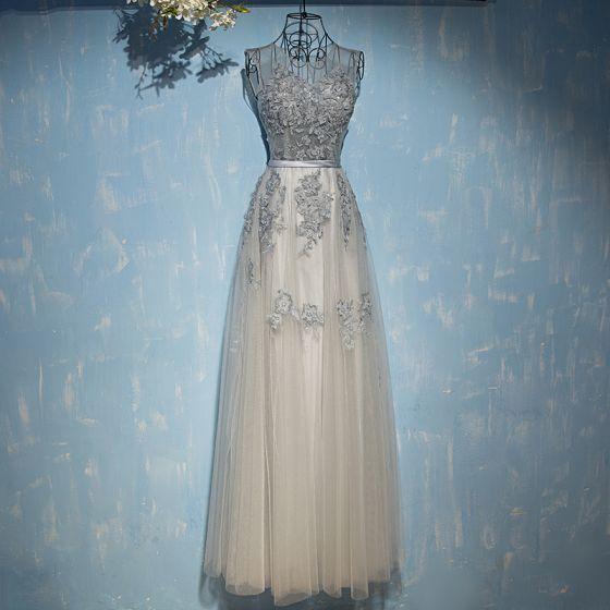 Chic / Belle Gris Robe Pour Mariage 2017 En Dentelle Fleur Paillettes Lanières Sans Manches Encolure Dégagée Longueur Cheville Empire Robe Demoiselle D'honneur