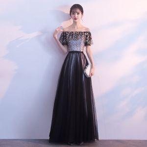 Piękne Czarne Sukienki Na Bal 2017 Princessa Bez Ramiączek Tiulowe Aplikacje Bez Pleców Wieczorowe Sukienki Wizytowe