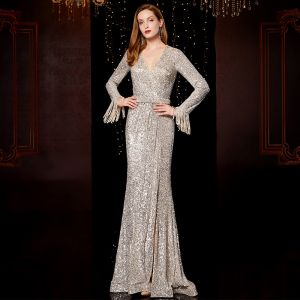Affordable Silver Sequins Evening Dresses  2020 Trumpet / Mermaid V-Neck Long Sleeve Beading Tassel Sash Split Front Floor-Length / Long Ruffle Formal Dresses