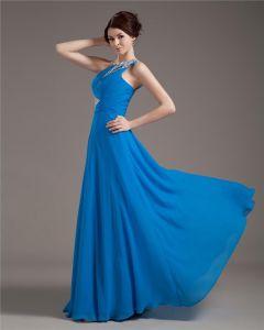 Eine Shening Dressesoulder Chiffon Faltete Perlen Bodenlangen Große Größen Abendkleider