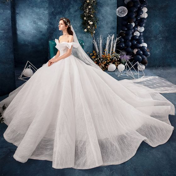 Best Ivory Wedding Dresses 2019 Ball Gown Off-The-Shoulder Short Sleeve Backless Glitter Tulle Chapel Train Ruffle
