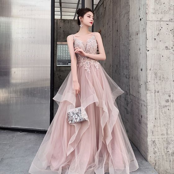 Charming Blushing Pink Evening Dresses  A-Line / Princess 2020 Spaghetti Straps Beading Lace Flower Sleeveless Backless Cascading Ruffles Floor-Length / Long Formal Dresses