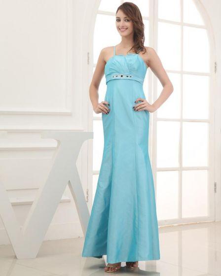 Taffeta Satin Silk Beading Ruffle Spaghetti Straps Sleeveless Backless Zipper Ankle Length Evening Party Dress