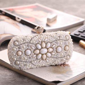 Mode Ivory / Creme Clutch Tasche Perlenstickerei Perle Strass Brautaccessoires 2019