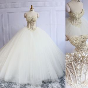 Luxury / Gorgeous Ivory Corset Wedding Dresses 2019 Ball Gown Sweetheart Sleeveless Backless Beading Pearl Court Train Ruffle