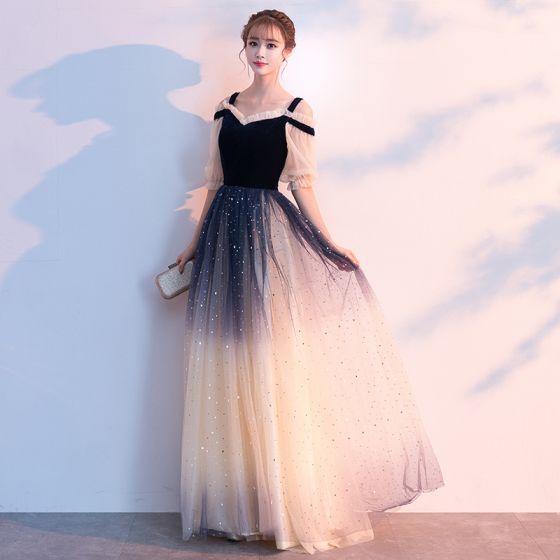 8cc3882957 Błyszczące Granatowe Sukienki Wieczorowe 2019 Princessa Spaghetti Pasy  Gwiazda Cekiny 1 2 Rękawy Bez Pleców Długie Sukienki Wizytowe