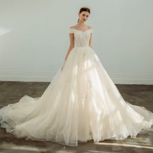 Elegant Champagne Wedding Dresses 2019 A-Line / Princess Off-The-Shoulder Beading Sequins Lace Flower Short Sleeve Cathedral Train