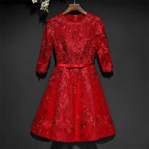 Hermoso Rojo Vestidos Formales Vestidos de noche 2017 Con Encaje Flor Bowknot Scoop Escote 1/2 Ærmer Cortos A-Line / Princess