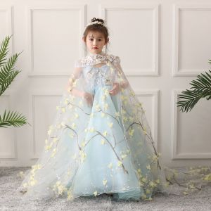 Flower Fairy Sky Blue Flower Girl Dresses 2019 A-Line / Princess High Neck Sleeveless Appliques Flower Beading Court Train Ruffle Backless Wedding Party Dresses