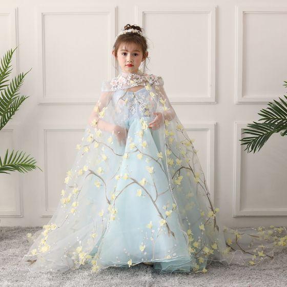 Flower Fairy Sky Blue Flower Girl Dresses 2019 A-Line / Princess High Neck Sleeveless Appliques Flower Beading Court Train Ruffle Backless Wedding Party Dresses