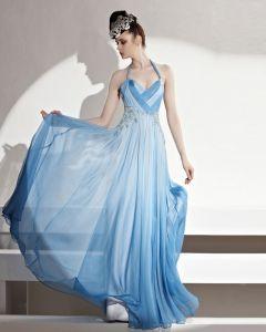 Longueur De Plancher De Halter Formelle Perles Plisse Tencel Femmes Robe De Soirée
