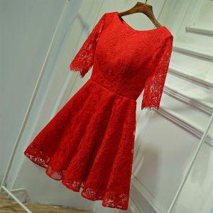 a53cc2845f5c7 Piękne Czerwone Sukienki Wizytowe Sukienki Wieczorowe 2017 Z Koronki Kwiat  Wycięciem 1 2 Rękawy Krótkie