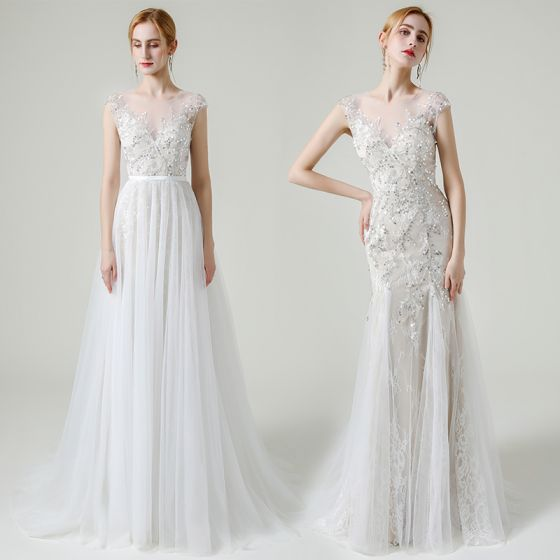 Charming Champagne See-through Bridal Wedding Dresses 2020 A-Line / Princess Scoop Neck Sleeveless Appliques Sequins Beading Detachable Sweep Train Ruffle