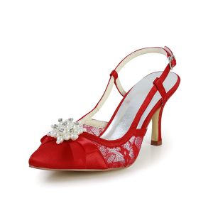 Beautiful Red Wedding Shoes Lace Stilettos Sandals Slingbacks With Pearl Jewelry