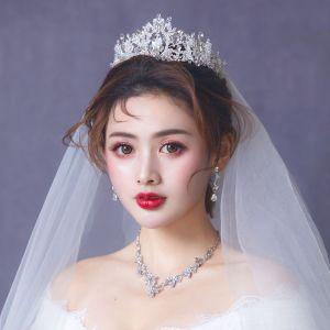 Mooie / Prachtige Zilveren Bruidssieraden 2019 Metaal Oorbellen Nek Ketting Tiara Kristal Rhinestone Huwelijk Accessoires